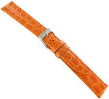 16mm Morellato Crocodile Grain Orange Padded Stitched Watch Band Strap 751
