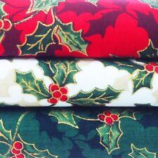 Christmas Fabric Per Metre Fat Quarters Red Green Cream Holly Gold Craft Festive
