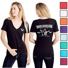 True Religion Women's Crystal Embellishment Buddha Logo Deep V-Neck Tee T-Shirt
