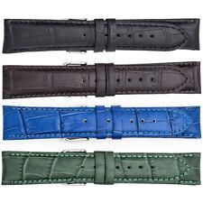 Men's Regular Matte Alligator Grain Leather Padded Watch Strap, 4 Optional Color