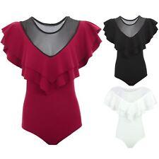 Ladies Sleeveless Mesh V Neck Twin Frill Ruffle Bodycon Bodysuit Leotard Top