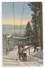 Ski Tow Skiing New Mexico linen postcard