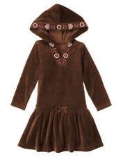 GYMBOREE ALPINE SWEETIE BROWN w/ FLOWER HOODED VELOUR DRESS 5 6 7 8 NWT