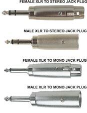 "XLR (Cannon) Plug / Socket - 6.35mm (1/4"") Jack Plug - Choice of Mono or Stereo"