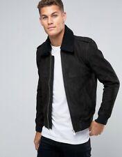 Mens Leather Jacket Black Suede Biker Moto Slim fit Size S M L XL XXL Custom Fit