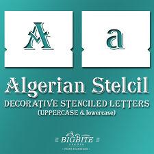 Algerian STENCIL Font – Decorative lowercase & UPPERCASE Letters Alphabet #073