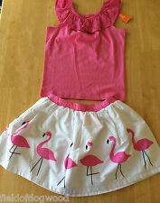 NWT Gymboree Fruit Punch Eyelet shirt Top Flamingo Skirt Set 5,8,10 Girls