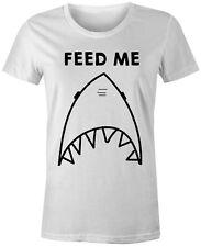 Funny Novelty Fashion Popular Joke Food Shark - Feed Me Womens T-Shirt Top Tee