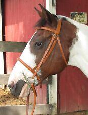 Chestnut Leather Plain Raised English Snaffle Bridle Laced Reins Full/Pony/Mini
