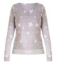 Long-Pullover Damen mit Sterne Grau V-Ausschnitt große Größen Baumwolle