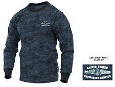 US Navy Submarine Service LONG SLEEVE Blue Camo T-Shirt Sub Force Vet Dolphins