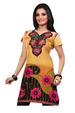 UK STOCK - Women Indian embroidery Soft Cotton Kurti Top Shirt Dress Tunic 63C