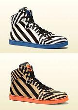 $980 New Authentic Gucci Mens Zebra Print Calf Hair High-top Sneaker 353412