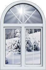 Sticker fenêtre trompe l'oeil  Montagne neige réf 1034