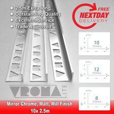 10x HEAVY DUTY TILE TRIM 2.5 METERS - L SHAPED - ALUMINIUM BRIGHT CHROME 10mm