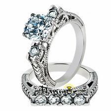 2.95 CT ROUND CUT ZIRCONIA STAINLESS STEEL 316L VINTAGE WEDDING RING SET SZ 5-10