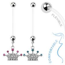 Belly Button Piercing Pregnancy Bio Flex Crown Pendant Cz Crystal Ptfe