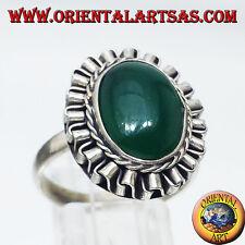 Anello In Argento Con Agata Verde Ovale A Cabochon