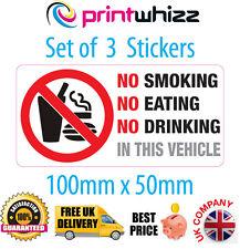 3 x Non Fumare Mangiare Bere Adesivo STAMPATO IN VINILE LABEL TAXI Spedizione Gratuita UK