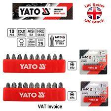 "Yato Professional NON SLIP 25mm (1"") YT-0470-2 Bits Pozidriv PZ1 PZ2 PZ3 10 PCS"