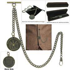 Brass Us Eagle Medal T Bar A95 Albert Chain Pocket Watch Curb Link Chain Antique