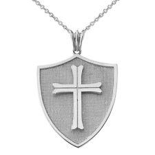 .925 Sterling Crusader shield  Pendant Necklace