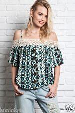 Off Shoulder Crochet Top Cotton Blouse BOHO Cold 8 10 12 14 16 Geometric Peasant