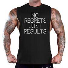 Men's No Regrets Just Results Black T-Shirt Tank Top Gym Workout Fitness V104