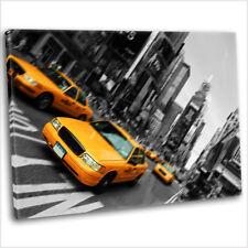 NEW York City Taxi Times Square stampa su Tela Incorniciato Wall Art Picture Giallo