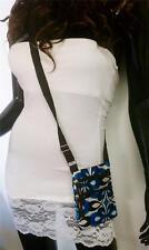 Flower Design Print Messenger Shoulder HandBag Crossbody Women Blue Bag