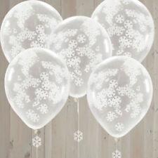 SNOWFLAKE CONFETTI Balloons White Christmas Party Decoration Stylish Helium 5PK