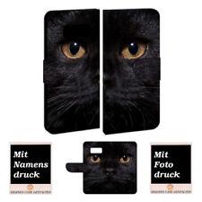 Samsung Galaxy S8 Handy Tasche selbst gestalten mit eigenem Foto Schwarz Katze