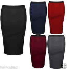 Womens Ladies New Midi Pencil Plain Stretch Bodycon High Waisted Tube Skirt 8-14