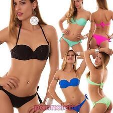 Bikini donna costume da bagno ferretto STRASS imbottito due pezzi nuovo B4042