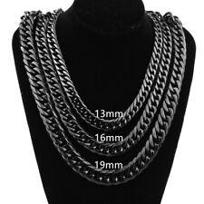 Steel Curb Cuban Chain Necklace Bracelet 9-21mm Fashion Black Tone Men Stainless