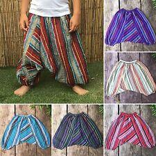 Girls boys stripey harem pants baggy summer hippy boho trousers 1,2,3,4,5,6,7yrs