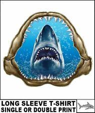 GREAT WHITE SHARK MAN EATER JAWS OCEAN KILLER PREDATOR WHITE DEATH T-SHIRT WS507