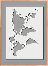 World Map Globe Stencil A5 A4 A3  Mylar Reusable Airbrush 125 Micros