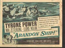 1957 MOVIE LOBBY CARD #3-1093 - TITLE CARD - ABANDON SHIP - TYRONE POWER