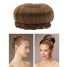 Women Braid Updo Wig Clip in Synthetic Hair Bun Chignon Donut Roller Hairpiece C