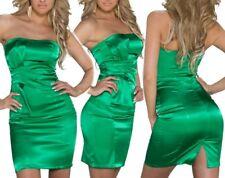 SEXY MISS Femmes Mini Robe Bandeau Jupe Satin Dress vert S 34 M 36 L 38 neuf