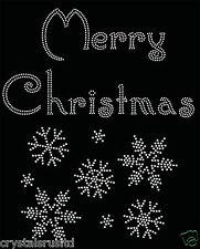 Buon Natale + Snowflake ferro su STRASS trasferimento hotflix T-SHIRT APPLIQUE