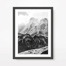 BLACK WHITE MOUNTAINS LANDSCAPE ART PRINT Photography Rocks Stone Wall Picture