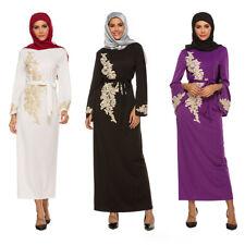 Lady Muslim Maxi Dress Islamic Abaya Kaftan Dubai Lace Embroidered Dresses Gown
