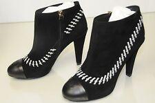$1325 New Chanel Black  White Stitch CC Platform Ankle Boots Booties Shoes Bag
