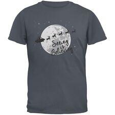 Seeing Is Believing Alien Santa Grey Adult T-Shirt