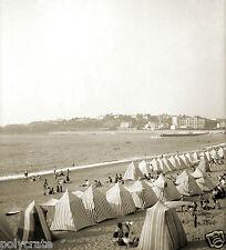 Bord de mer plage vacances deb. XXe Cabine en toile  Repro photographie ancienne