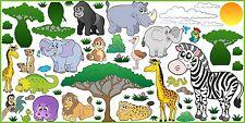 WANDTATTOO SAFARI Afrika Zebra Affe Lion Wand Aufkleber Dekor Kinderzimmer SET 4