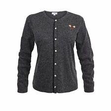 Trachtenstrickjacke Strickjacke Grau Schwarz Damen Jacke Trachten Sweater Hoodie