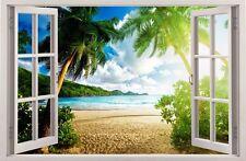 WANDAUFKLEBER FENSTER 3D Tropischen Insel Wand Dekor Aufkleber Wandtattoo 01